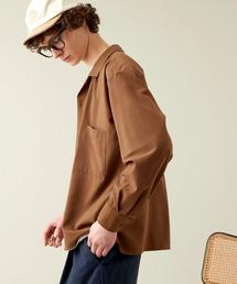 ブライトポプリンリラックスオープンカラーシャツ Poplin Open Collar Shirtキャメル