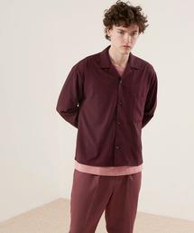 ブライトポプリンリラックスオープンカラーシャツ Poplin Open Collar Shirtバーガンディー