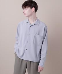 ブライトポプリンリラックスオープンカラーシャツ Poplin Open Collar Shirtサックスブルー