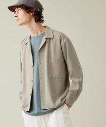 ブライトポプリンリラックスオープンカラーシャツ L/Sとろみシャツ Poplin Open Collar Shirtグレイッシュベージュ