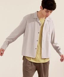 ブライトポプリンリラックスオープンカラーシャツ Poplin Open Collar Shirtライトグレー