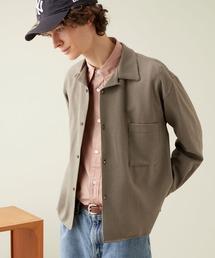 ブライトポプリンリラックスオープンカラーシャツ L/Sとろみシャツ Poplin Open Collar Shirtベージュ系その他2