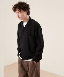 ブライトポプリンリラックスオープンカラーシャツ Poplin Open Collar Shirtブラック