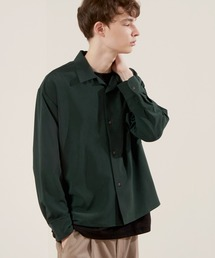 ブライトポプリンリラックスオープンカラーシャツ Poplin Open Collar Shirtダークグリーン