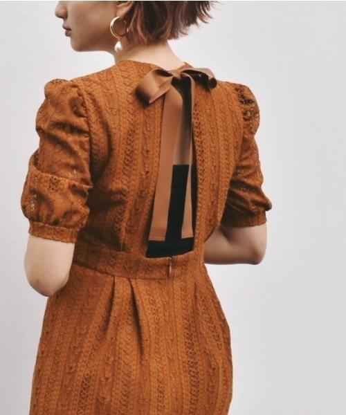 kaene(カエン)の「バックリボンワンピース(ドレス)」|ブラウン