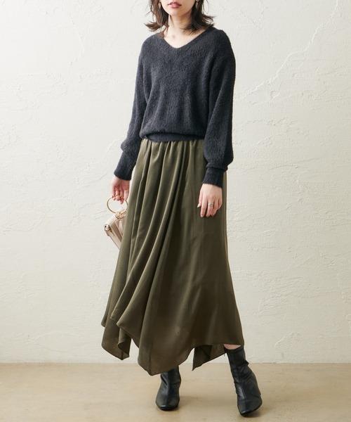 natural couture(ナチュラルクチュール)の「【WEB限定カラー有り】シャギーニット×ヴィンテージサテンスカートセット(セットアップ)」 ブラック