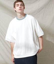 シルケットライク天竺 スーパービッグシルエットS/Sリブカットソー 無地T トップス  Tシャツ  リンガー MERCERIZATION COTTON BIG SILHOUETTE LIB SS TEE - EMMA CLOTHES 2021SS -ホワイト系その他