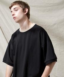 シルケットライク天竺 スーパービッグシルエットS/Sリブカットソー 無地T トップス  Tシャツ  リンガー MERCERIZATION COTTON BIG SILHOUETTE LIB SS TEE - EMMA CLOTHES 2021SS -ブラック系その他
