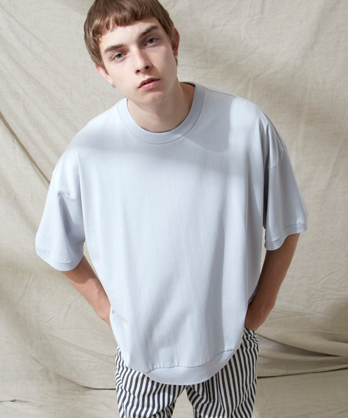 シルケットライク天竺 スーパービッグシルエットS/Sリブカットソー 無地T トップス Tシャツ MERCERIZATION COTTON BIG SILHOUETTE LIB SS TEE - EMMA CLOTHES 2021SS -