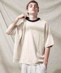 シルケットライク天竺 スーパービッグシルエットS/Sリブカットソー 無地T トップス  Tシャツ  リンガー MERCERIZATION COTTON BIG SILHOUETTE LIB SS TEE - EMMA CLOTHES 2021SS -ベージュ系その他