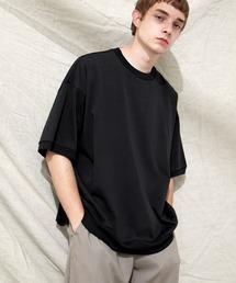 シルケットライク天竺 スーパービッグシルエットS/Sリブカットソー 無地T トップス  Tシャツ  リンガー MERCERIZATION COTTON BIG SILHOUETTE LIB SS TEE - EMMA CLOTHES 2021SS -ブラック
