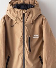 撥水防風ストレッチ耐水圧10000mm中綿フードジャケット ワンポイントブランドロゴベージュ