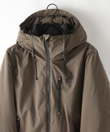 撥水防風ストレッチ耐水圧10000mm中綿フードジャケット ワンポイントブランドロゴカーキ