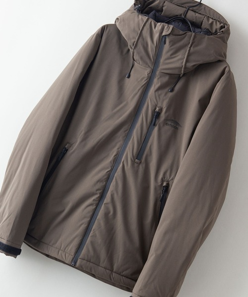撥水防風ストレッチ耐水圧10000mm中綿フードジャケット ワンポイントブランドロゴ