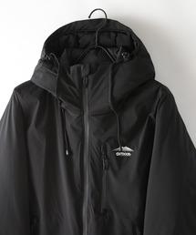 撥水防風ストレッチ耐水圧10000mm中綿フードジャケット ワンポイントブランドロゴブラック
