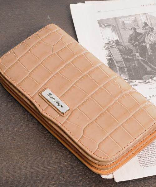 sankyo shokai(サンキョウショウカイ)の「[Louis Ange]牛革レザークロコ型押し長財布(財布)」|ピンク