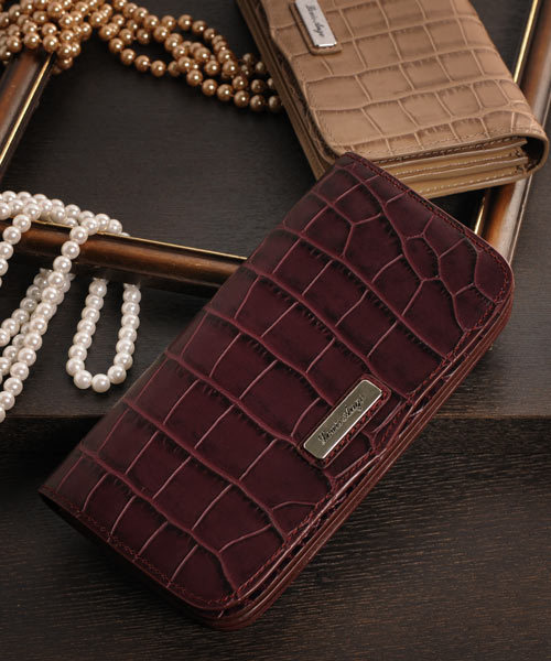 sankyo shokai(サンキョウショウカイ)の「[Louis Ange]牛革レザークロコ型押し長財布(財布)」|ボルドー