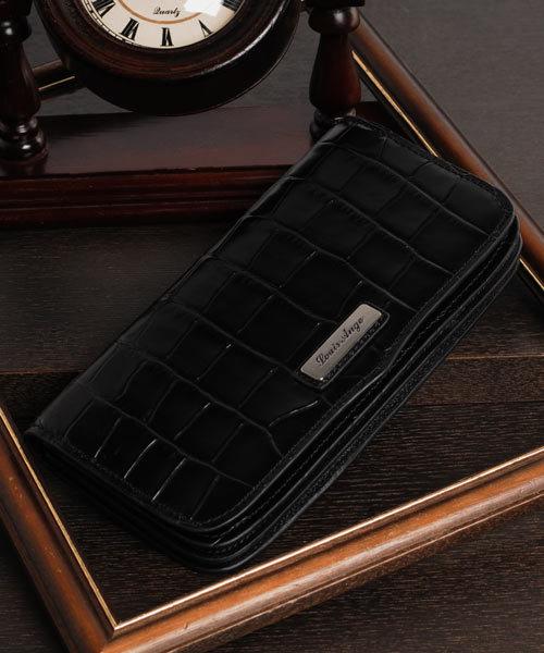 sankyo shokai(サンキョウショウカイ)の「[Louis Ange]牛革レザークロコ型押し長財布(財布)」|ブラック