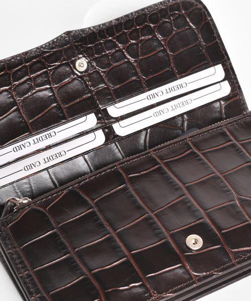 sankyo shokai(サンキョウショウカイ)の「[Louis Ange]牛革レザークロコ型押し長財布(財布)」|詳細画像