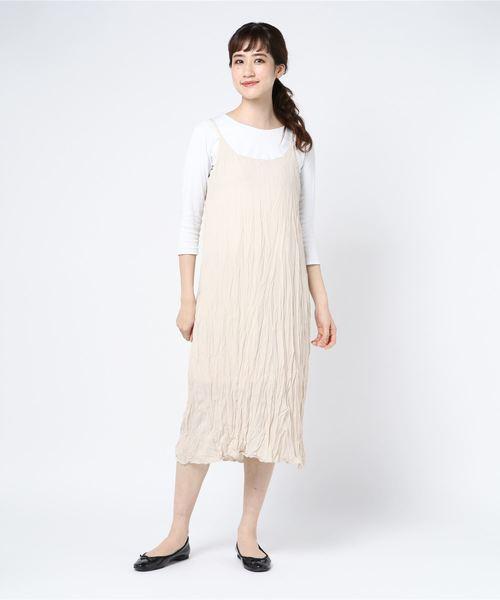 【Schon】Wrinkle cami one-piece