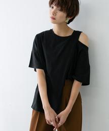 KBF(ケイビーエフ)のオープンショルダーアシンメトリーTシャツ(Tシャツ/カットソー)