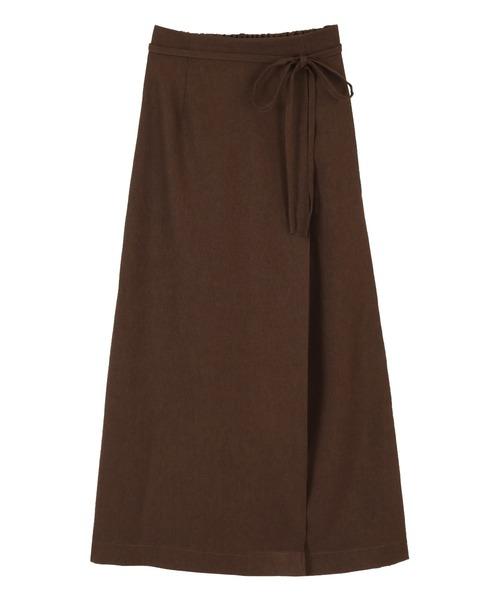 titivate(ティティベイト)の「リネンライクラップAラインリボン付スカート(スカート)」|ブラウン