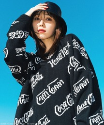 【コカ・コーラ】ジャガードニットブラック