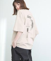 シルケットライク天竺 オーバーサイズ S/S メッセージプリント カットソー EMMA CLOTHES 2021SS COLLECTION - INVERSION(反転) × HIDE AND SEEK(かくれんぼ) -ベージュ系その他