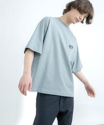 シルケットライク天竺 オーバーサイズ S/S メッセージプリント カットソー EMMA CLOTHES 2021SS COLLECTION - INVERSION(反転) × HIDE AND SEEK(かくれんぼ) -ブルー系その他