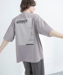 シルケットライク天竺 オーバーサイズ S/S メッセージプリント カットソー EMMA CLOTHES 2021SS COLLECTION - INVERSION(反転) × HIDE AND SEEK(かくれんぼ) -パープル系その他