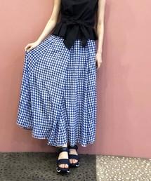 PICCIN(ピッチン)の【WEB限定】ギンガムチェックギャザーフレアロングスカート(スカート)