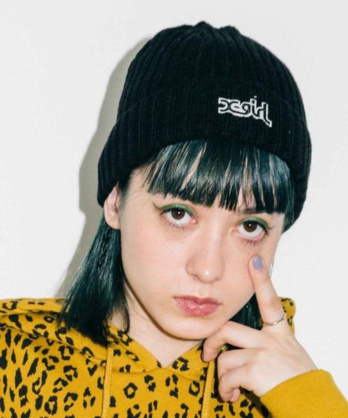 X-girl(エックスガール)の「RIB KNIT CAP(ニットキャップ/ビーニー)」|ブラック
