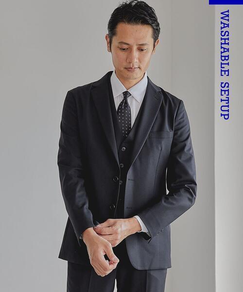 WTO TWPU サージ無地 スリム スーツジャケット -ウォッシャブル・防シワ・ストレッチ-