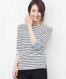 mili an deni(ミリアンデニ)のボーダー&無地袖切替7分袖Tシャツ(Tシャツ/カットソー)