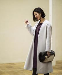 <closet story>◎W/N カラーレス ロングコート
