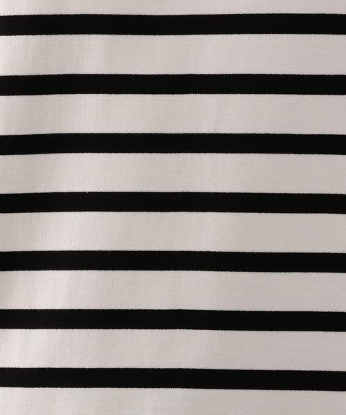 スビンコットン パネルボーダーバスクTシャツ