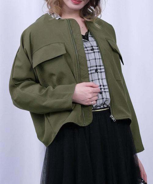 ノーカラージップアップドルマンジャケット
