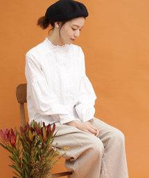 PAR ICI(パーリッシィ)のローンフリル衿 刺繍ブラウス(シャツ/ブラウス)