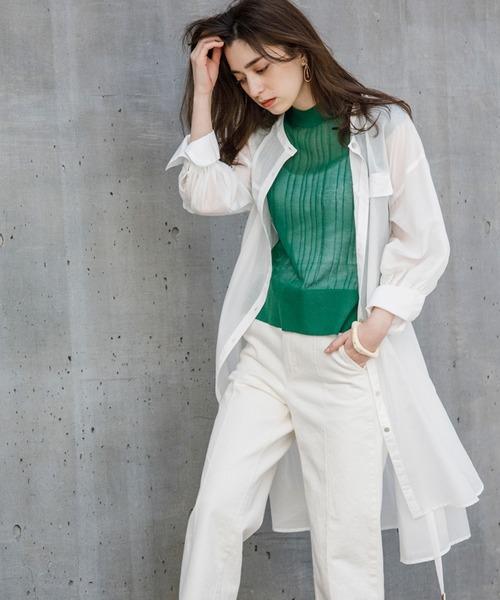 ベルト付きボリュームスリーブシアーロングシャツ(羽織シャツ)