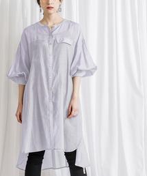 ベルト付きボリュームスリーブシアーロングシャツ(羽織シャツ)ブルー