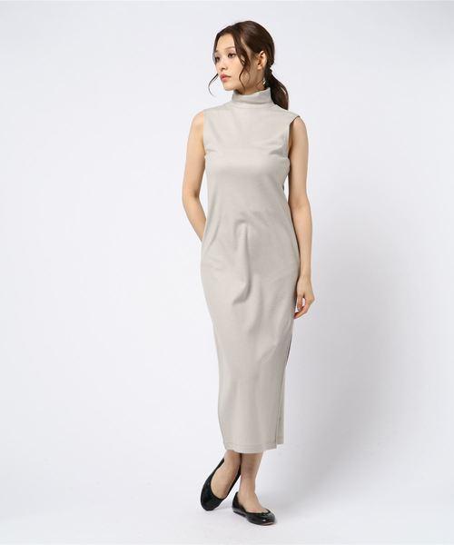 ウール混 タートルネック ドレス