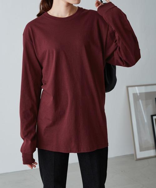 【FRUIT OF THE LOOM】レディース フルーツオブザルーム オーバーサイズ クルーネック 長袖 Tシャツ