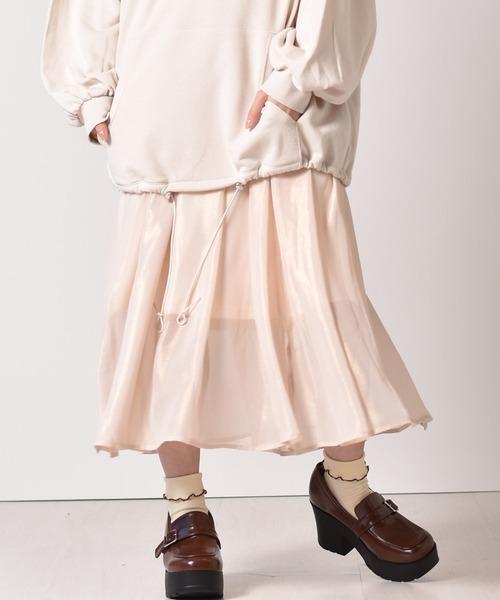 箔プリントフレアースカート