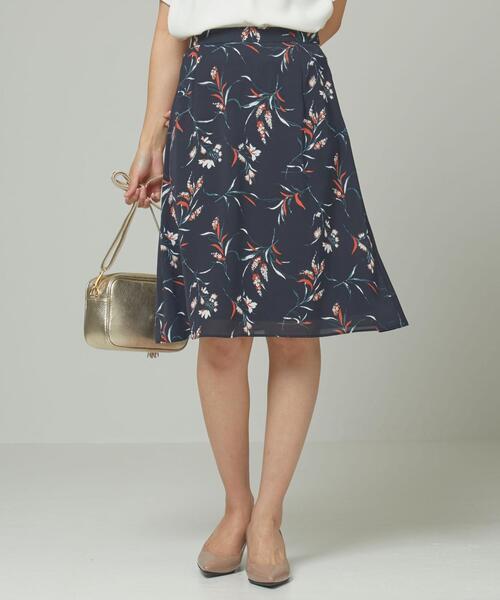 <closet story>ボタニカルプリント フレアスカート -手洗い可能-