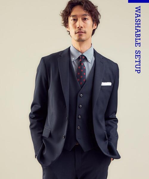 WTO TWPU シャンブレー スリム スーツジャケット -ウォッシャブル・防シワ・ストレッチ-