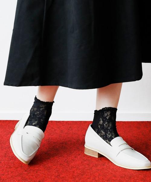 靴下屋(クツシタヤ)の「靴下屋/ 縫製レースショートソックス(ソックス/靴下)」|ブラック