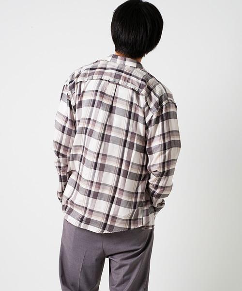 ドロップショルダー長袖チェックシャツ