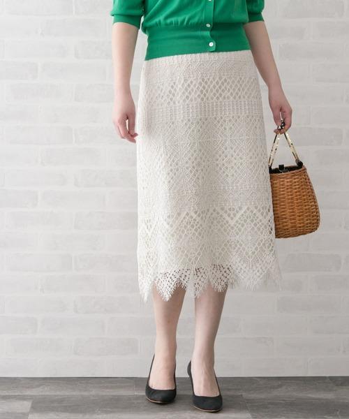 URBAN RESEARCH ROSSO WOMEN(アーバンリサーチ ロッソ)の「レーススカート(スカート)」|オフホワイト