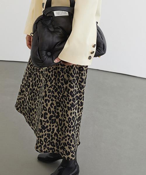 【Fano Studios】【2021SS 先行予約】Leopard semi-long trapeze skirt FC21B007