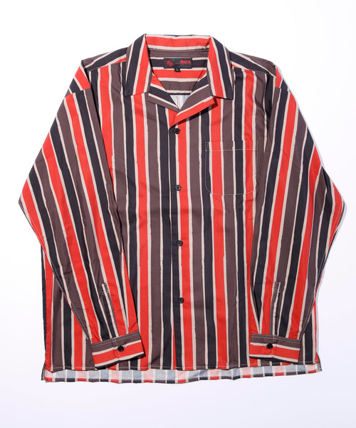 AndA トニーストライプ オープンカラー長袖シャツ